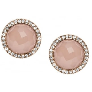 Ladies Rose Gold Plated Fashion Circular Earrings