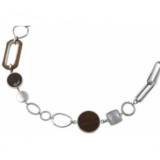 Ladies Silver and Brown Statement Necklace JF84394040