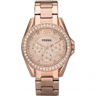 Ladies Stone Set Rose Gold Tone Riley Watch ES2811