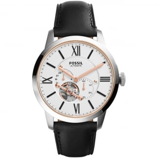 Men's Black Leather Townsman Automatic Watch ME3104