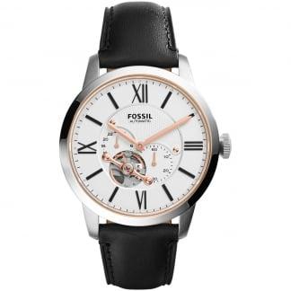 Men's Black Leather Townsman Automatic Watch ME3104