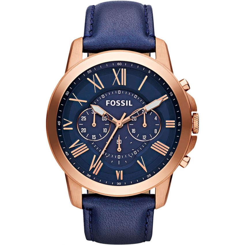 Fossil Men's Blue & Rose Gold Multifunction Grant Watch FS4835