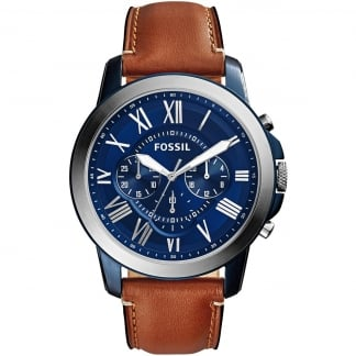Men's Brown Leather Strap Grant Watch FS5151
