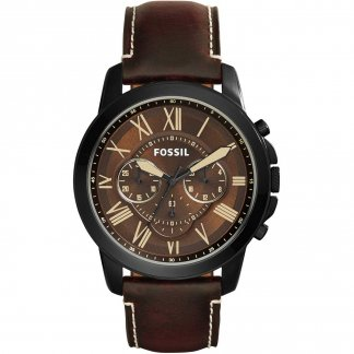 Men's Grant Brown Leather Chronograph Watch FS5088