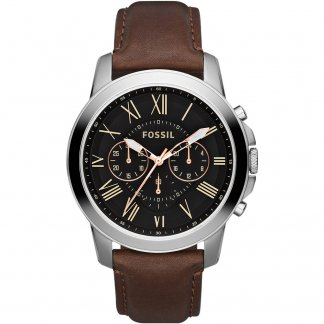 Men's Grant Chronograph Brown Strap Watch FS4813