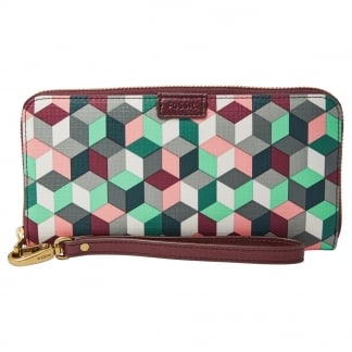 Plum Abstract Emma RFID Large Zip Clutch Purse