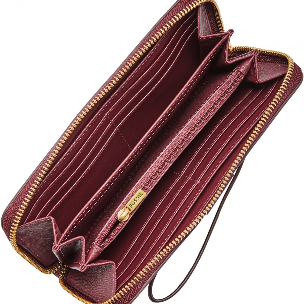 218f5faf87c0 Fossil Plum Abstract Emma RFID Large Zip Clutch Purse - Accessories ...