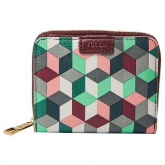 Plum Abstract Emma RFID Mini Multifunction Purse