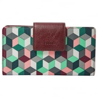 Plum Abstract Emma RFID Tab Clutch Purse