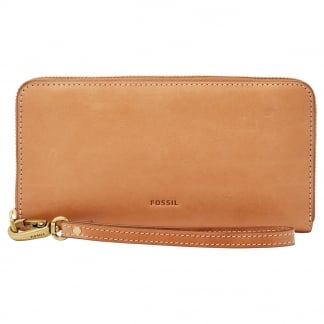 Tan Emma RFID Large Zip Clutch Purse