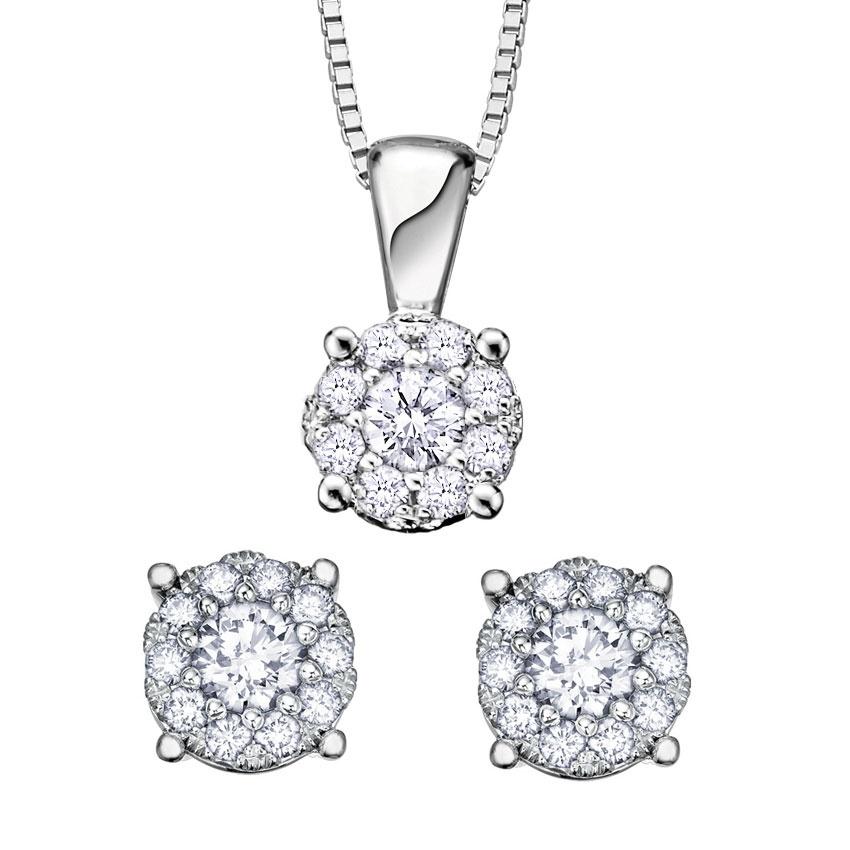 Francis & Gaye Diamond Cluster Earring & Pendant Set XMAS PROMO SET