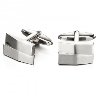Brushed and Polished Steel Cufflinks