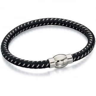 Men's Black and Grey Nylon Bracelet B4734