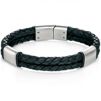 Men's Black Leather and Brushed Steel Bracelet B4373