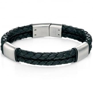 Men's Black Leather and Brushed Steel Bracelet B4373
