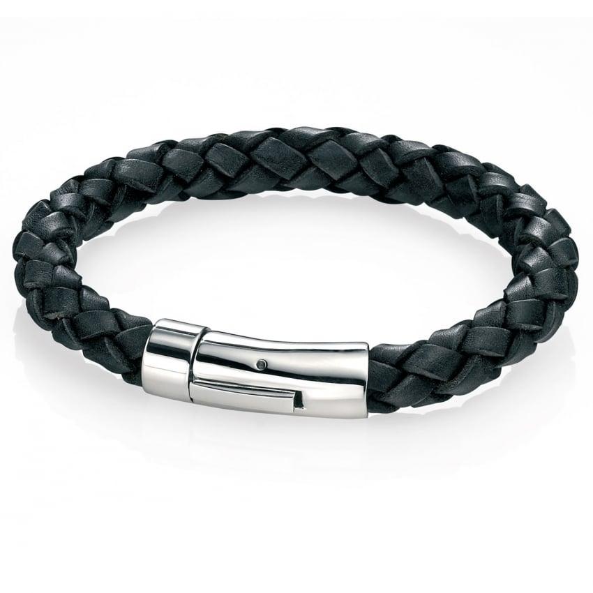 Fred Bennett Men's Black Leather And Steel Clasp Braid Bracelet B4418