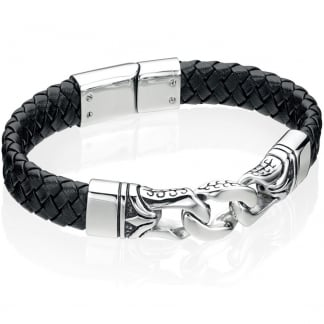 Men's Black Leather Bracelet with Fancy Clasp B3897
