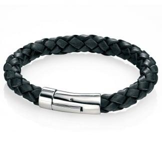 Men's Black Leather Plaited Bracelet B3672
