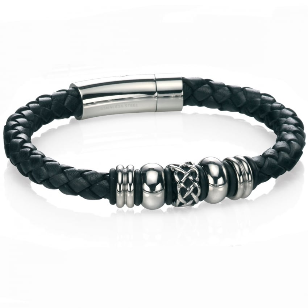Fred Bennett Men's Black Leather with Celtic Detail Bracelet B4211