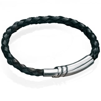 Men's Black Leather with Magnetic Clasp Bracelet B2915