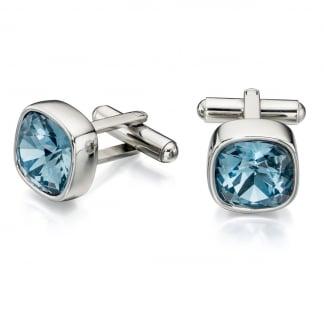 Men's Blue Crystal Round Cufflinks V504