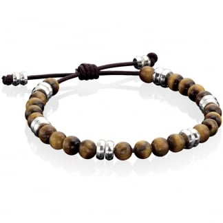 Men's Brown Adjustable Bracelet with Tigers Eye B3905