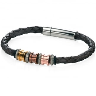 Men's Brown Leather and Four Tone Steel Detail Bracelet B4210