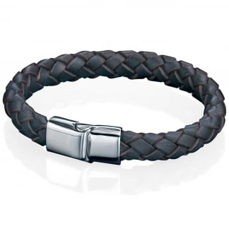 Men's Brown Leather and Stainless Steel Clasp Bracelet B4419