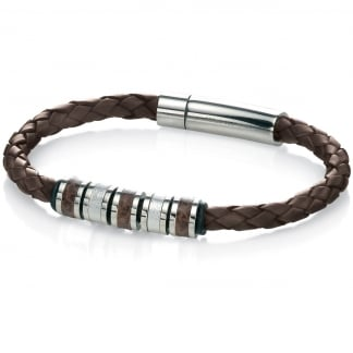 Men's Brown Leather and Steel Detail Leather Bracelet