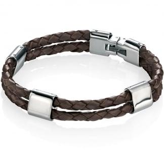 Men's Brown Leather Double Strand Bracelet B4417