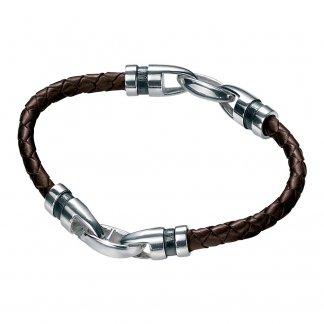 Men's Brown Leather & Oxidised Silver Bracelet B3404