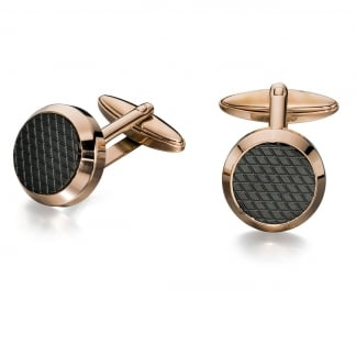 Men's Rose Gold and Black Round Cufflinks V498