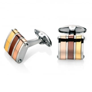 Men's Rose, Gold and Brown Striped Cufflinks V475