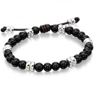 Men's Silver and Black Onyx Adjustable Bracelet B4569