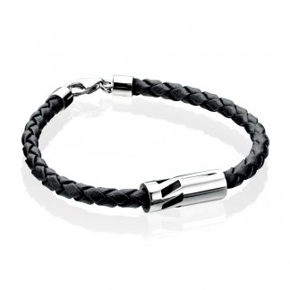 Men's Silver Cylinder Black Leather Bracelet B3904
