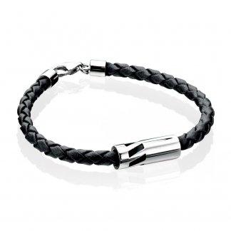 Men's Silver Cylinder Black Leather Bracelet B3904