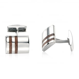 Men's Silver with Double Wooden Inlay Cufflinks V345