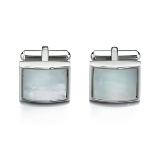 Men's Square White Mother of Pearl Cufflinks V422