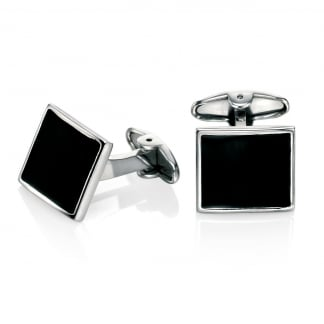 Men's Stainless Steel and Black Enamel Cufflinks V467