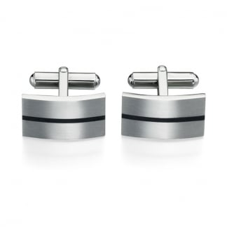 Men's Stainless Steel and Black Enamel Line Cufflinks V424