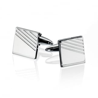 Men's Stainless Steel Ribbed Cufflinks V415