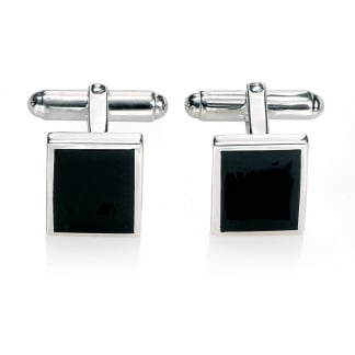 Men's Steel and Black Agate Cufflinks V327B