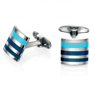 Men's Steel and Blue Enamel Striped Cufflinks V468