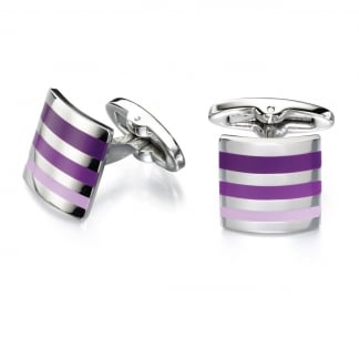Men's Steel and Purple Enamel Striped Cufflinks V484