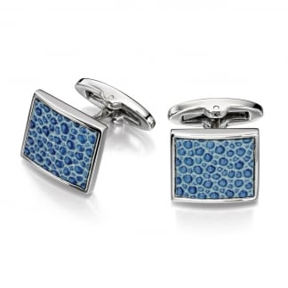 Men's Steel and Textured Blue Cufflinks V486