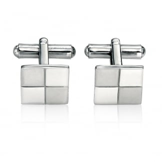 Men's Steel Checkered Cufflinks V319