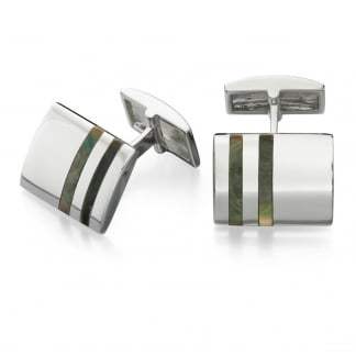 Men's Sterling Silver and Black Mother of Pearl Detail Cufflinks V497