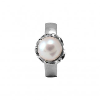 Fresh Water Pearl Flower Silver Charm
