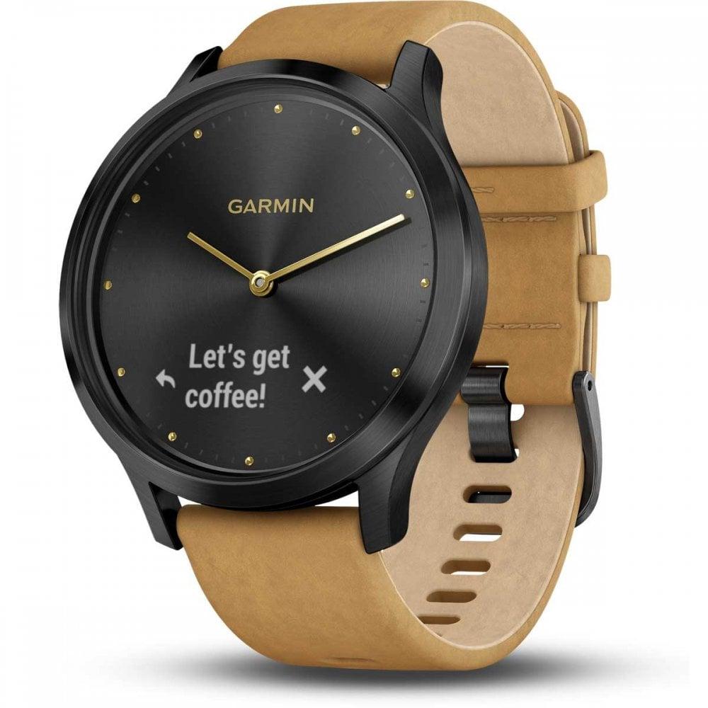 a064b1f68 Garmin Vívomove® HR Premium Hybrid Smartwatch - Onyx/Tan - Watches ...