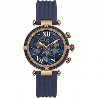 Ladies CableChic Rose Gold/Blue Chronograph Watch